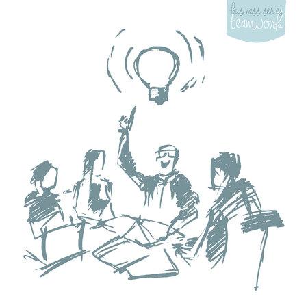 Hand gezeichnete Vektor-Illustration eines Business-Menschen mit einem Business-Meeting. Brainstorming, Teamarbeit. Konzept Vektor-Illustration, Skizze
