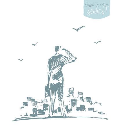 Entregue a ilustração desenhada do vetor de um homem de negócios que está e que olha a cidade. Procurando por oportunidades, investimento. Ilustração vetorial conceito, esboço