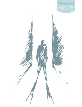 Illustration vectorielle dessinés à la main d'un homme, debout devant la porte ouverte. Illustration vectorielle de concept, croquis