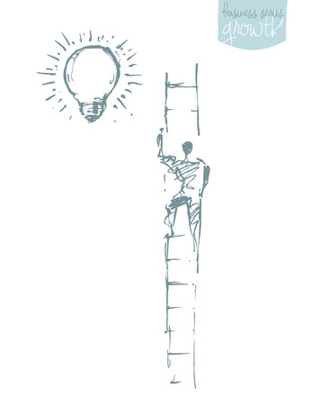 Man, climbing on a stair in the sky. Successful career concept, challenge.