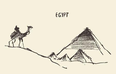 ピラミッドとラクダのスケッチ カイロ、エジプトのギザ。