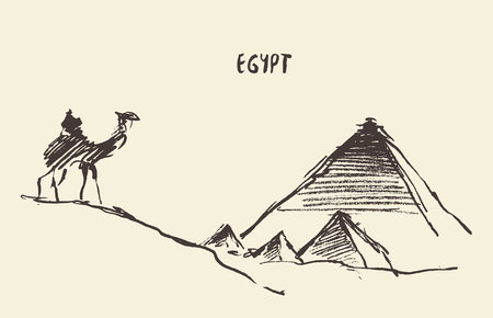 Sketch of the Pyramids and camel Giza in Cairo, Egypt. Illustration