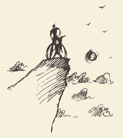 on the hill: Sketch of a rider with a bicycle, standing on top of a hill.