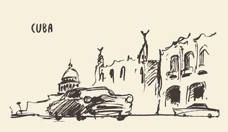 Bosquejo de una ilustración calles en Cuba Ilustración de vector