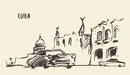 havana: Sketch of a streets in Cuba illustration