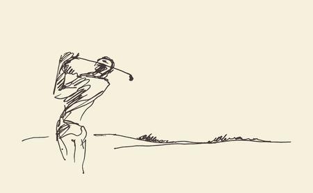 Szkic człowieka uderzenia piłki golfowej. ilustracji wektorowych