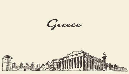 ギリシャ スカイライン ヴィンテージ刻まれたイラスト手描きのスケッチ
