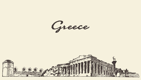 Greece skyline vintage engraved illustration hand drawn sketch Vettoriali
