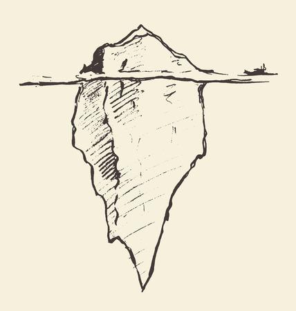 Skizze eines Eisbergs mit Eisbrecher. Vektorgrafik