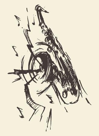 Isolated esquisse abstraite du saxophone, de style rétro gravé, dessiné à la main, croquis