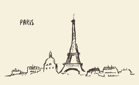history architecture: Sketch of the Eiffel Tower Paris