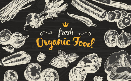 veggies: Hand drawn illustration of organic products on a blackboard, sketch