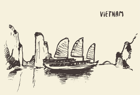 the bay: Sketch of the Halong Bay, Vietnam. Vector illustration