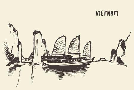 ha: Sketch of the Halong Bay, Vietnam. Vector illustration