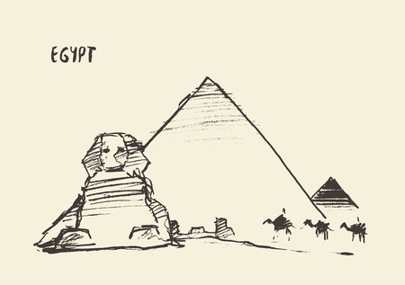 giza: Sketch of the Pyramids and Great Sphinx of Giza in Cairo, Egypt.