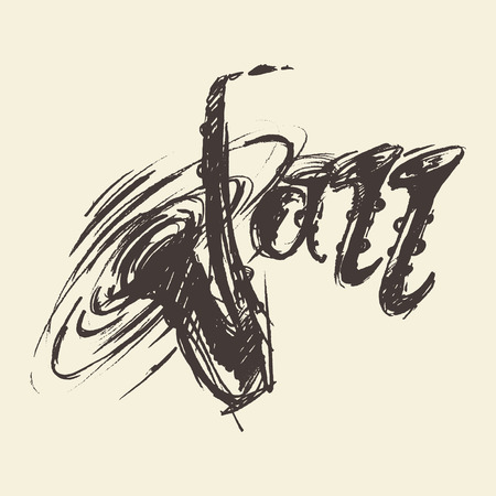 Isolated abstract sketch of saxophone, engraved retro style, hand drawn, sketch
