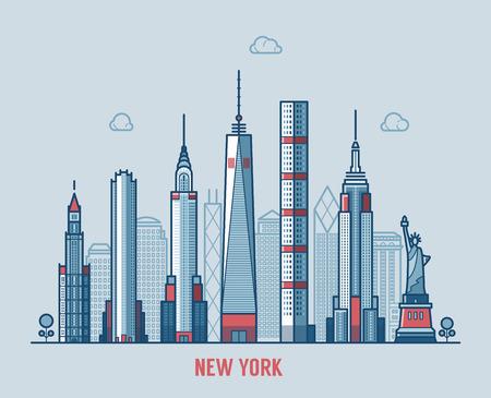 new york city skyline: New York city skyline detailed silhouette.