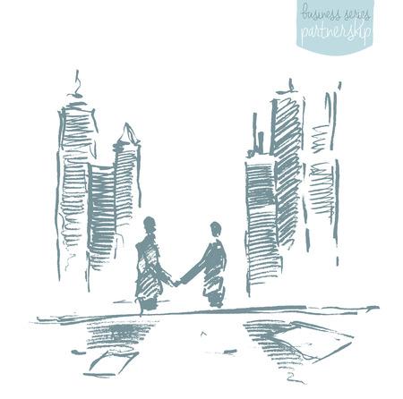 handclasp: Handshake of businessmen in front of skyscrapers. Success, dealing, partnership. Concept vector illustration, sketch