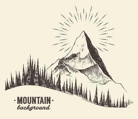 Bosquejo de una montaña con bosque de abetos, la salida del sol puesta de sol en las montañas, el estilo de grabado, ilustración vectorial dibujado a mano Ilustración de vector