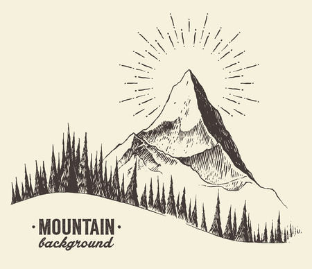 Sketch of a mountains with fir forest, sunrise sunset in the mountains, engraving style, hand drawn vector illustration 矢量图像