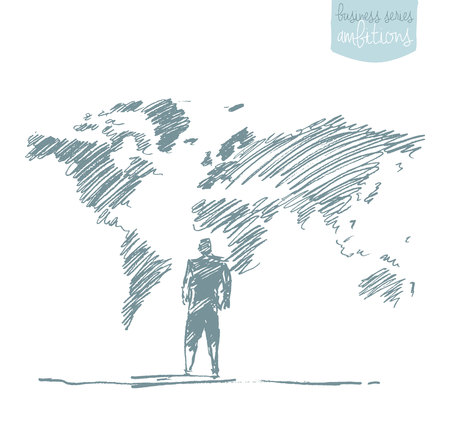world trade: Businessman standing in front of world map. Globalization, connection. Concept vector illustration, sketch