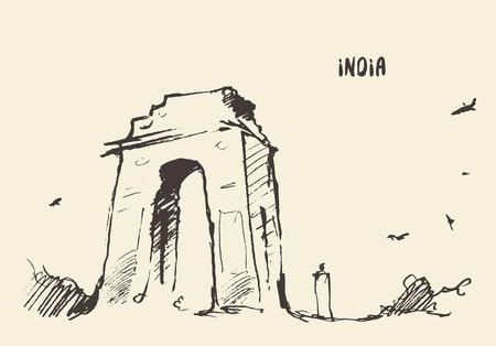 india gate: Sketch of the India Gate, New Delhi. Vector illustration Illustration