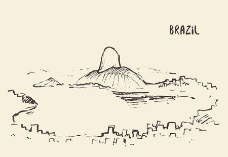 corcovado: Sketch of Rio De Janeiro skyline, Brazil. Vector illustration Illustration