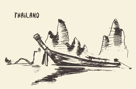 Sketch of traditional longtail boat, Thailand. Vector illustration
