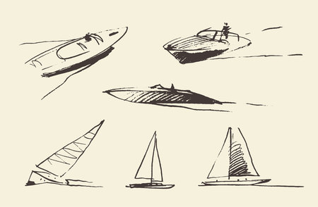 the hovercraft: Set of boats sketches, hand drawn vector illustration