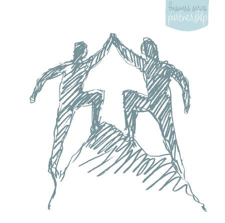surmount: Two a successful climbers on a mountain. Teamwork, partnership concept. Vector illustration, sketch