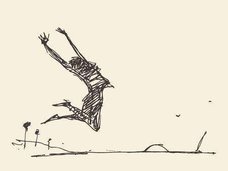femme dessin: Croquis d'une silhouette d'une personne de saut, illustration vectorielle