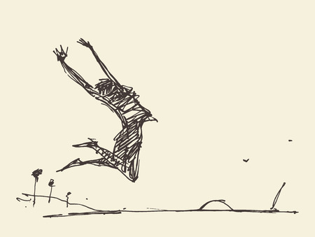 nature woman: Sketch of a silhouette of a jumping person, vector illustration