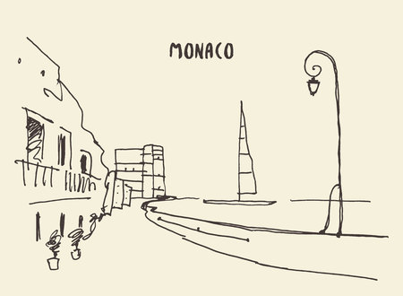 monaco: Sketch of streets in Monaco, vector illustration, hand drawn Illustration
