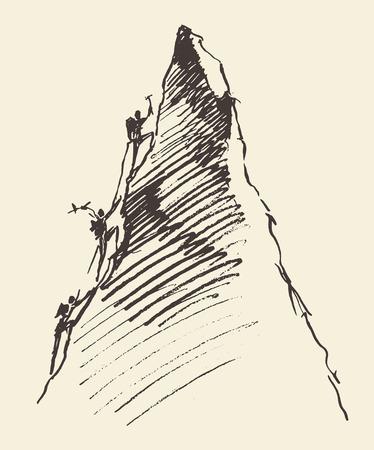 Bosquejo de un pueblo que suben en un pico de la montaña, ilustración vectorial