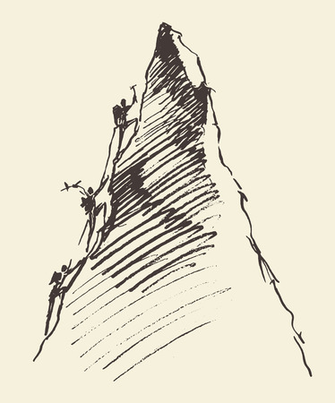 Sketch of a people climbing on a mountain peak, vector illustration Illustration