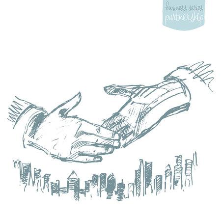 Handshake of businessmen. Success dealing partnership. Concept vector illustration, sketch