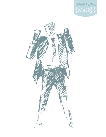 successful businessman: illustration of a successful businessman. Winner, leadership. Concept illustration, sketch