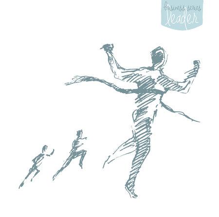 Illustration dessinée à main dessinée d'un homme, croisant le ruban gagnant. Concept de fin d'année réussi, challenge, victoire. Illustration vectorielle, croquis.