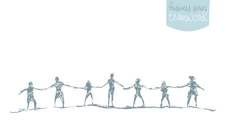 fila de personas: Las personas se dan la mano en un espíritu de unidad, ilustración vectorial, mano, bosquejo Vectores