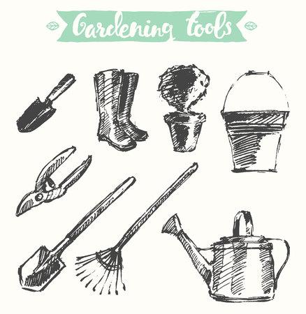 garden hose: gardening tools, illustration, sketch