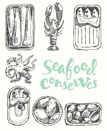 conserved: Seafood conserves vintage engraved illustration , sketch Illustration