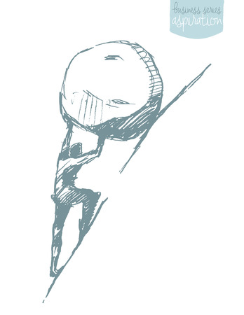 Young businessman pushing large stone uphill, illustration, sketch. Sisyphus myth.