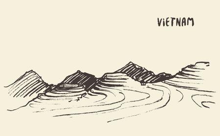 Landschapsweergave van rijstvelden Mu Cang Chai, Vietnam, illustratie, schets