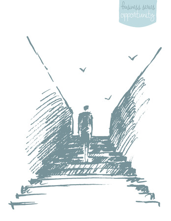 opportunity concept: Silhouette of a businessman climbing stairs. Ambitions, growth, opportunity. Concept illustration, sketch
