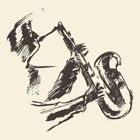 artistic: Man playing saxophone. Vintage  illustration, sketch. Illustration