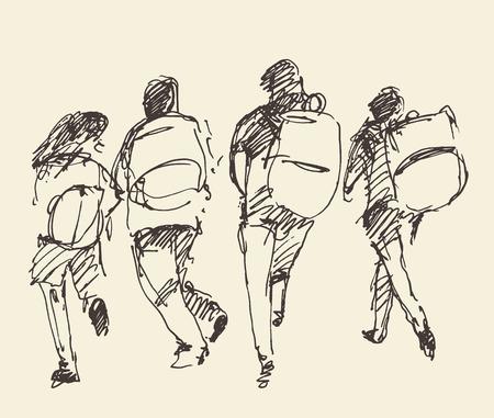 Vier Schüler gehen Hand in Hand. Vektor-Illustration, Skizze