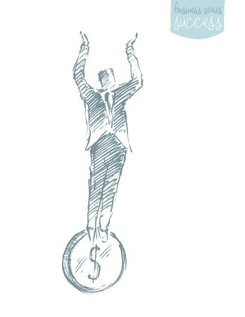 financial stability: Businessman stand on coin. Financial stability. Concept vector illustration, sketch