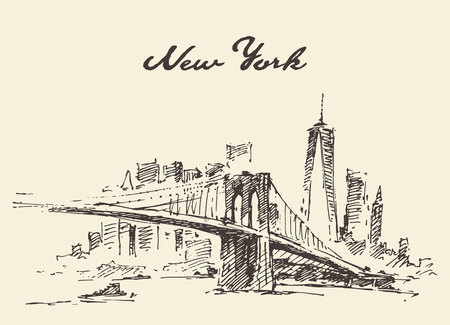 Manhattan bridge. New York United States. Illustration