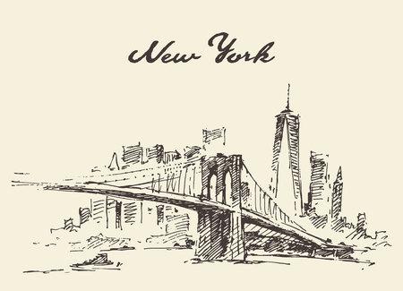 pont de Manhattan. New York, États-Unis. Vecteurs