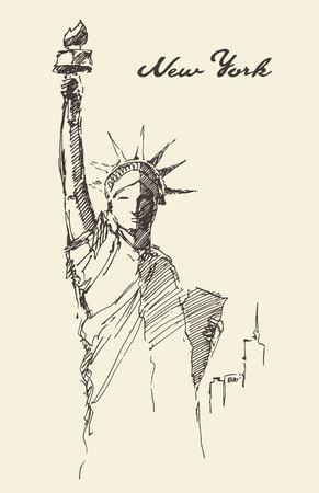 statue: Statue of Liberty, hand drawn vintage engraved illustration, sketch Illustration
